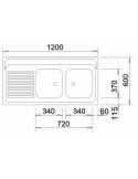 Zlewozmywak BLANCO R-ZS 12 X 6 - 2 Z PRZELEWEM NAKŁADANY 510505