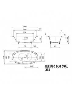 Wanna owalna bez obudowy 232 Kaldewei Ellipso Duo Oval 190x100 286200013001