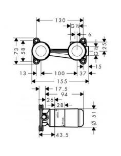 Zestaw podstawowy Axor do jednouchwytowej baterii umywalkowej do montażu podtynkowego 13623180