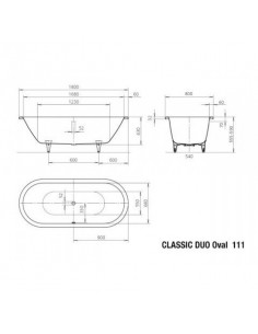 Wanna owalna 112 Kaldewei CLASSIC DUO OVAL 160x70 291300013001