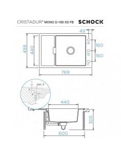 Zlewozmywak MONO- na równi z blatem -CRISTADUR SCHOCK D-100XS FB Bronze