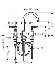 Bateria umywalkowa Axor Montreux 3-otworowa nikiel szczotkowany 16514820