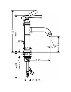 Bateria umywalkowa Axor Montreux jednouchwytowa nikiel szczotkowany 16515820