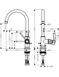 Bateria umywalkowa Axor Montreux jednouchwytowa nikiel szczotkowany 16517820