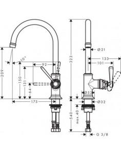Bateria umywalkowa Axor Montreux jednouchwytowa nikiel szczotkowany 16518820