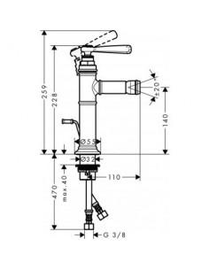 Bateria bidetowa Axor Montreux nikiel szczotkowany 16526820