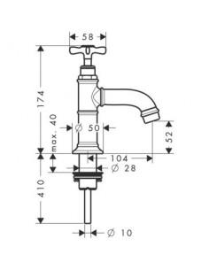 Bateria umywalkowa Axor Montreux bez mieszacza z perlatorem nikiel 16530820