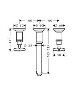 Bateria umywalkowa Axor Montreux podtynkowa 3-otworowa nikiel 16532820