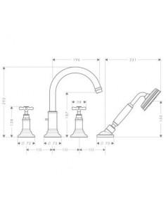 Bateria nawannowa Axor Montreux 4-otworowa nikiel 16546820