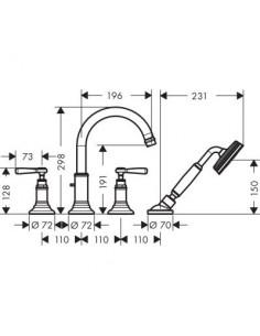 Bateria nawannowa Axor Montreux 4-otworowa nikiel szczotkowany 16550820
