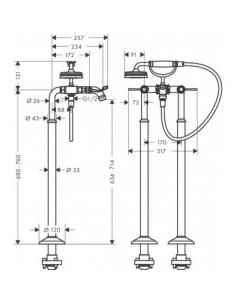 Bateria wannowa Axor Montreux podłogowa nikiel szczotkowany 16553820