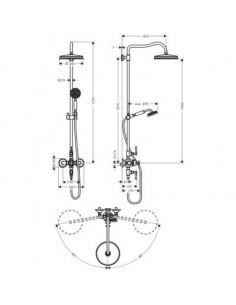 Zestaw prysznicowy Axor Montreux Showerpipe 1jet nikiel szczotkowany 16572820
