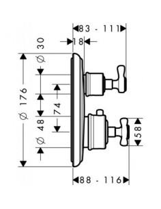 Bateria prysznicowa Axor Montreux podtynkowa termostatyczna 16800000