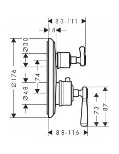Bateria prysznicowa Axor Montreux podtynkowa termostatyczna nikiel szczotkowany 16801820
