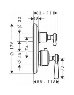 Bateria wannowo-prysznicowa Axor Montreux termostatyczna chrom 16821000
