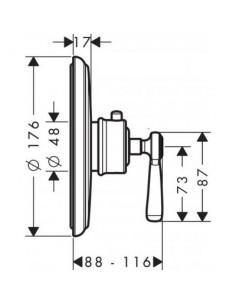 Bateria prysznicowa Axor Montreux podtynkowa termostatyczna HighFlow nikiel szczotkowany 16823820