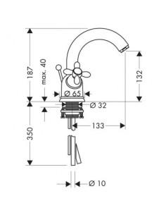 Bateria umywalkowa Axor Carlton dwuuchwytowa chrom/złoty 17030090