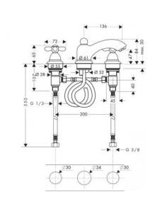 Bateria umywalkowa Axor Carlton 3-otworowa chrom/złoty 17133090