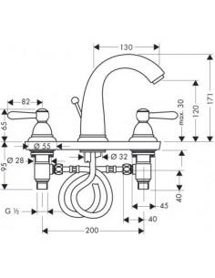 Bateria umywalkowa Axor Carlton 3-otworowa chrom/złoty 17134090