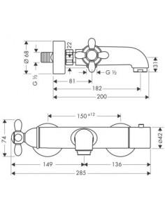Bateria wannowo-prysznicowa Axor Carlton termostatyczna chrom/złoty 17241090