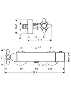 Bateria prysznicowa Axor Carlton termostatyczna chrom/złoty 17261090
