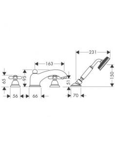 Bateria wannowa Axor Carlton 4-otworowa chrom/złoty 17444090