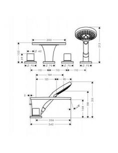 Bateria wannowo-prysznicowa Axor Massaud 4-otworowa 18453000