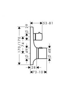Bateria podtynkowa Axor Massaud termostatyczna z zaworem odcinającym 18745000