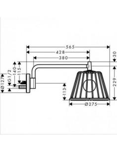 Deszczownica Axor LampShower Nendo z ramieniem prysznicowym 26031000