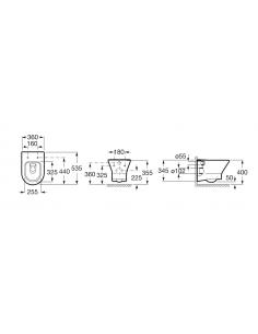 Miska podwieszana bez kołnierza, z deską slim ROCA NEXO 36x53,5x34,5 A34H64L000