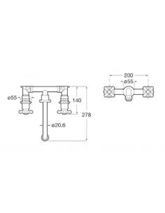 Bateria umywalkowa podtynkowa trzyotworowa ROCA CARMEN A5A474BC00