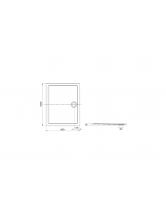 Brodzik prostokątny 100x80 cm Roca AERON z syfonem,kolor biały A276285100