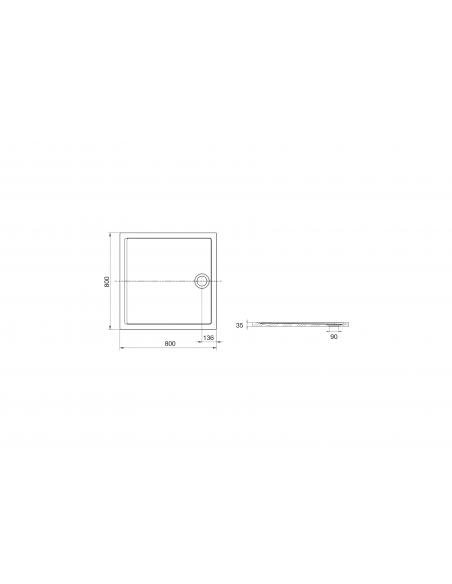 Brodzik kwadratowy 80x80 cm Roca AERON  z syfonem,kolor szary łupek A276284200