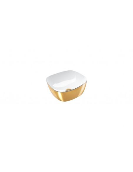 Umywalka nablatowa CATALANO GREEN LUX 40x40 biało-złota 140APGRLXBO
