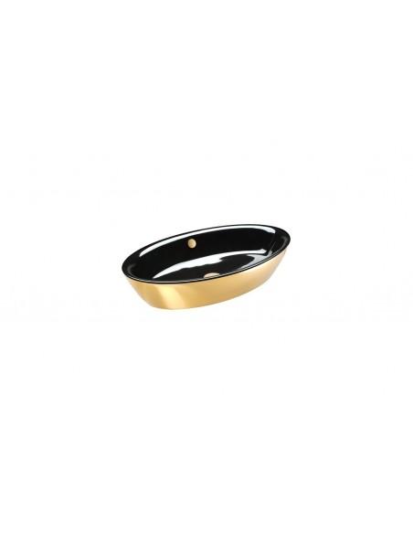Umywalka owalna nablatowa CATALANO VELIS 70x42 czarno-złota 170VLNNO