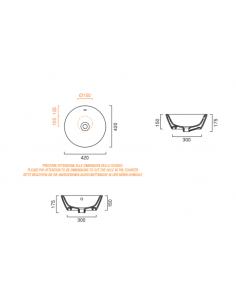 Umywalka okrągła nablatowa CATALANO VELIS 42x42 biało-srebrna 142VLNBA