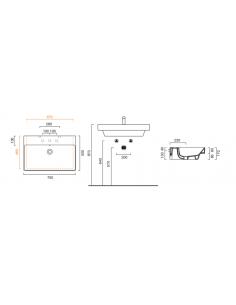 Umywalka wisząca, nablatowa lub wpuszczana w blat CATALANO NEW ZERO 75x50 175ZP00