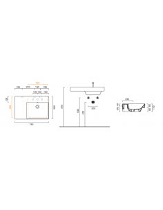 Umywalka wisząca, nablatowa lub wpuszczana w blat z półką po lewej stronie CATALANO NEW ZERO 75x50 175DZEUP00