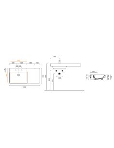 Umywalka wisząca, nablatowa lub wpuszczana w blat z półką po prawej stronie CATALANO NEW ZERO 100x50 110SZEUP00