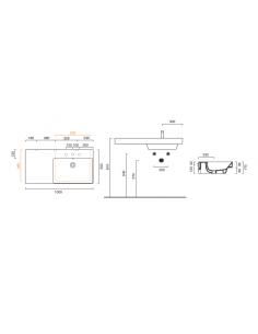 Umywalka wisząca, nablatowa lub wpuszczana w blat z półką po lewej stronie CATALANO NEW ZERO 100x50 110DZEUP00