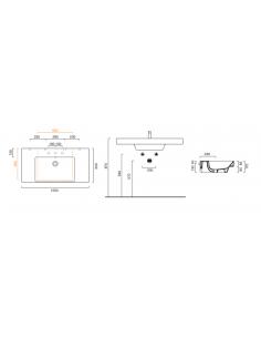 Umywalka wisząca, nablatowa lub wpuszczana w blat z półkami CATALANO NEW ZERO 100x50 110ZEUP00
