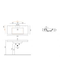 Umywalka wisząca, nablatowa lub wpuszczana w blat z półkami CATALANO NEW ZERO 125x50 1125ZEUP00