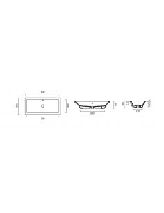 Umywalka wpuszczana w blat lub podblatowa CATALANO NEW ZERO 80x37 18037ZE00
