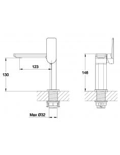 Bateria umywalkowa sztorcowa OMNIRES Parma chrom PM7410X CR