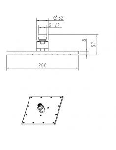 Deszczownica mosiężna 1-funkcyjna 20 x 20 cm Omnires SlimLine WG220