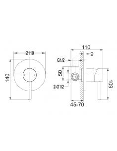Bateria przysznicowa Omnires Y podtynkowa czarna Y1245BL