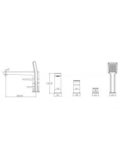 Bateria wannowa 4-otworowa chrom/biały Omnires Parma PM7432 CRB