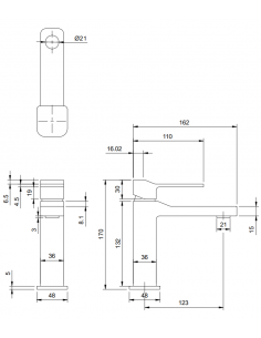 Bateria umywalkowa sztorcowa chrom Omnires Slide SL7710