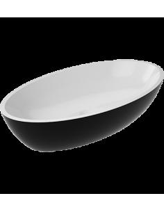 Umywalka owalna nablatowa Omnires 60x35 biało czarna Siena L UN BCP Marble+