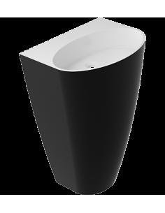 Umywalka wolnostojąca przyścienna 55x43 biało-czarna Omnires Siena UWBO BCP Marble+